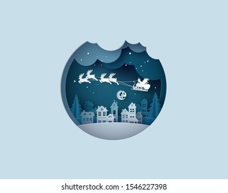 Merry Christmas and Happy New Year. Illustration of Santa Claus on the sky coming to City ,paper cut art style.