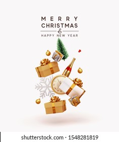 Merry Christmas and Happy New Year. Xmas Festive background with realistic objects. Holiday elements, 3d render and realism. Greeting card, banner, web poster. vector illustration