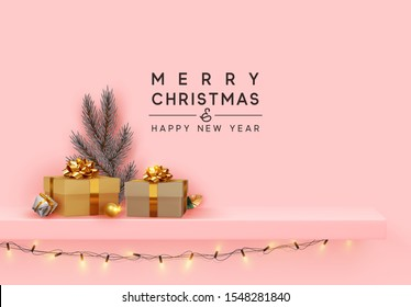 Merry Christmas and Happy New Year. Shelf and podium with realistic golden gifts boxes with gold bows, silver pine and spruce branch. Xmas blue background with present box. vector illustration