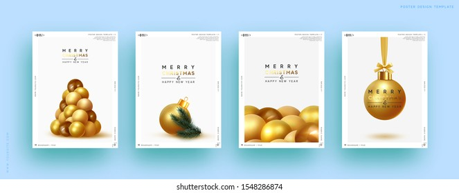 Merry Christmas and Happy New Year. Festive background with round Xmas balls, Christmas tree, pine shape. Realistic decorative design elements. Set Poster, cover, banner. Vector 3d object golden color