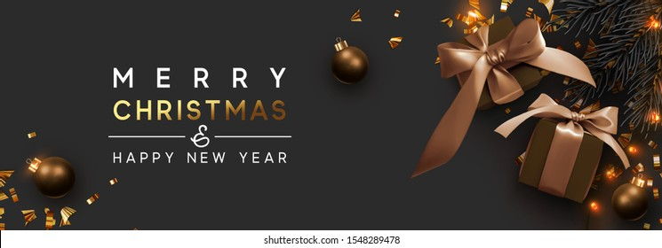 Merry Christmas and Happy New Year. Background with realistic festive gifts box. Xmas present. brown boxes with beige ribbon gift surprise, Golden Christmas baubles, balls, glitter gold confetti.