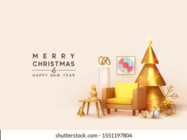 Merry Christmas and Happy new year. Winter home decor. Room with armchair and golden Christmas tree, Xmas decorative objects interior. Banner, web poster, Design 3D rendering. vector illustration
