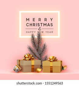 Merry Christmas and Happy New Year. Neon frame, Shelf and podium with realistic golden gifts boxes, silver pine and spruce branch. Xmas pink background with present box. vector illustration