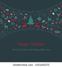 Merry Christmas and happy new year with vintage holiday elements for greeting card or background,vector illustration
