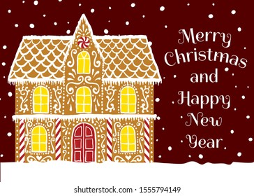 Merry Christmas and Happy New Year. Christmas greeting card with gingerbread house