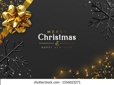Merry Christmas and Happy New Year. Dark background with golden realistic magnificent gif bow, light yellow bulb garlands, glitter gold confetti, 3d render black snowflakes. Night Xmas design.