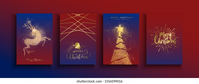 Merry Christmas Happy New Year greeting card set of gold glitter holiday designs. Reindeer and xmas pine tree templates made in luxury golden dust.