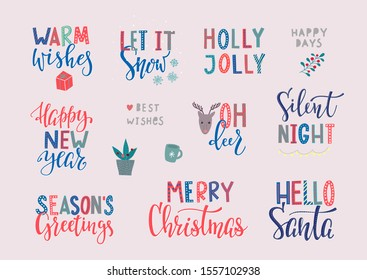 Merry Christmas Happy New Year simple lettering postcard set. Calligraphy card sticker graphic design element. Hand written sign. Photo overlay Winter Holidays vector Festive Santa stars colourful joy