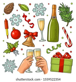 Merry Christmas and Happy New Year set. Gingerbread man, candy, mistletoe, candle, bell, toy, serpentine, rocket, snowflake, champagne glass. Vector vintage color engraving isolated on white