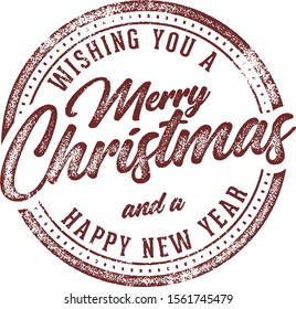 Merry Christmas and Happy New Year Holiday Card Stamp Design Element