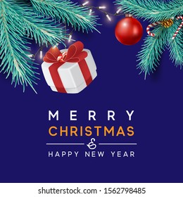 Merry Christmas and Happy New Year background for holiday greeting card, invitation, party flyer, poster, banner. Christmas tree balls, green fir branches and gift box. Vector illustration.