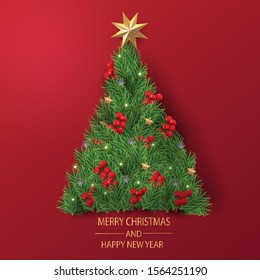 Merry Christmas and Happy New Year. Christmas greeting card in red background with decoration.