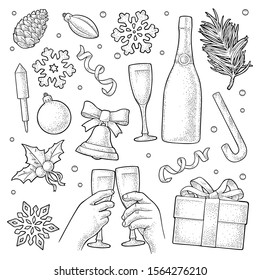 Merry Christmas and Happy New Year set. Gingerbread man, candy, mistletoe, candle, bell, toy, serpentine, rocket, snowflake, champagne glass. Vector vintage black engraving isolated on white