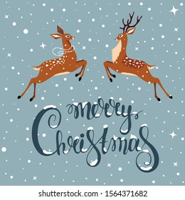 Merry Christmas and Happy New Year! Cartoon amazing fabulous jumping deers. Vector illustration