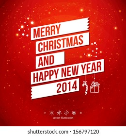 Merry Christmas and Happy New Year 2014 card. White ribbon, red background.  Vector image.