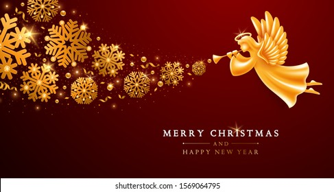 Merry Christmas and Happy New Year greeting card template. Golden Angel with wings, nimbus and trumpet flying with chic blizzard of snowflakes, tinsels and sequins on elegant dark background. Vector.