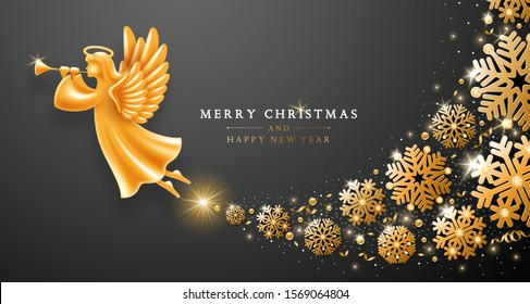 Merry Christmas and Happy New Year greeting card template. Golden Angel with wings, nimbus and trumpet flying with swirl of snowflakes, tinsels and sequins on elegant dark background. Vector.