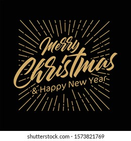 Merry Christmas and Happy New Year vector text Calligraphic Lettering design card. Creative typography for Holiday Greeting Gift Poster. Calligraphy Font style Banner