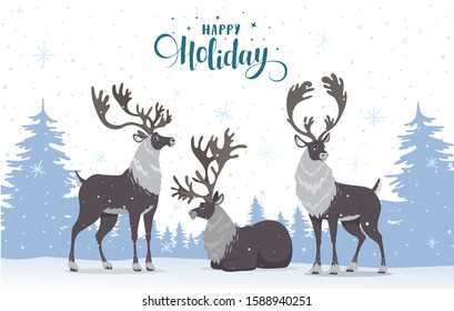Merry Christmas and Happy New Year! Cartoon amazing three reindeer. Vector illustration