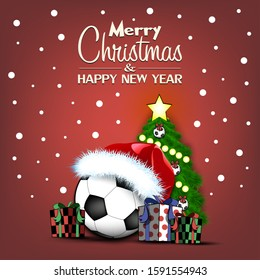 Merry Christmas and Happy New Year. Soccer ball, Christmas tree and  gift boxes. Snowflakes on the background. Greeting card design template with for new year.  Vector illustration