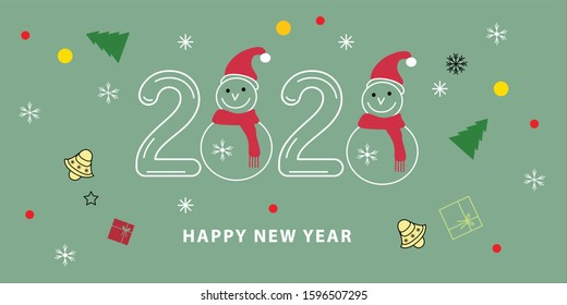 Merry Christmas and Happy New Year 2020. Modern vector illustration concept for background, greeting card, party invitation card, website banner, social media banner, marketing material.