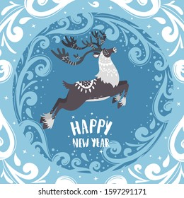 Merry Christmas and Happy New Year! Cartoon amazing fabulous north reindeer. Vector illustration