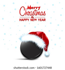Merry Christmas and Happy New year. Hockey puck in santa hat and snowflakes on isolated background. Minimalistic pattern for graphic design greeting card, poster, flyer. Vector illustration