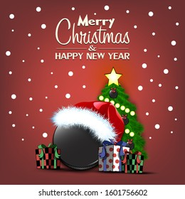 Merry Christmas and Happy New Year. Hockey puck, Christmas tree and  gift boxes. Snowflakes on the background. Greeting card design template with for new year.  Vector illustration