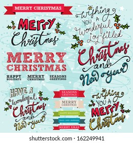 Merry Christmas and Happy New Year Typographic Hand drawn Christmas Banners with ribbon text banners on a blue hand drawn background