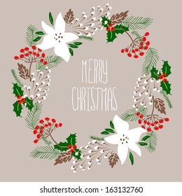 Merry Christmas and Happy New Year Card. Christmas Wreath.