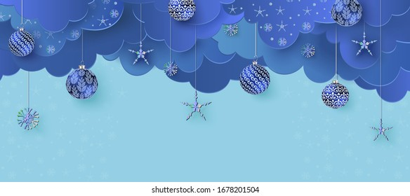 Merry Christmas and Happy New Year. Hanging blue Xmas decorative balls Festive realistic decor. Horizontal Christmas poster, header website. vector illustration