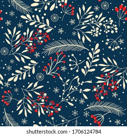 Merry Christmas, Happy New Year seamless pattern with branches, leaves, berries and snowflakes for greeting cards, wrapping papers. Seamless winter pattern. Vector illustration.
