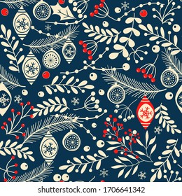 Merry Christmas, Happy New Year seamless pattern with branches, leaves, berries and toys for greeting cards, wrapping papers. Seamless winter pattern. Vector illustration.