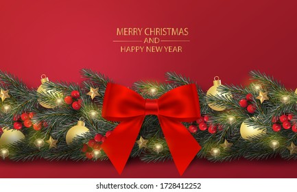 Merry Christmas and Happy New Year. Christmas tree branches with bow, ball and decorated in red background.