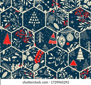 Merry Christmas, Happy New Year seamless pattern from patches with fir cone, Christmas trees, holly leaves berries for greeting cards, wrapping paper. Seamless winter patchwork. Vector illustration.