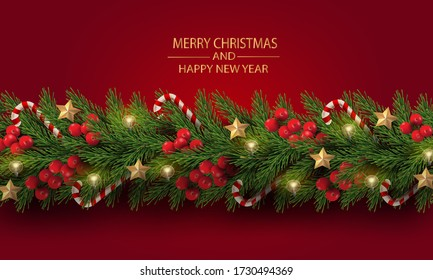 Merry Christmas and Happy New Year. Christmas tree branches with berries, gold stars, candy canes and decorated in red background.
