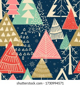 Merry Christmas, Happy New Year seamless pattern with Christmas trees for greeting cards, wrapping paper. Doodles. Seamless colorful winter pattern on black background. Vector illustration.