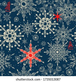 Merry Christmas, Happy New Year seamless pattern with snowflakes for greeting cards, wrapping paper. Doodles. Seamless winter pattern on black background. Vector illustration.