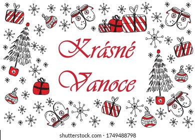 Merry christmas and Happy new year IN CZECH LANGUAGE, doodle vector greeting card with red and black christmas symbols isolated on white background. Christmas element, sketch drawing for your design.