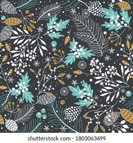 Merry Christmas, Happy New Year seamless pattern with fir cone, holly leaves and berries for greeting cards, wrapping paper. Seamless winter pattern. Vector illustration.