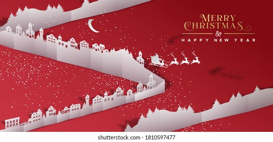 Merry Christmas Happy New Year web banner illustration of winter xmas village in 3d papercut style. Paper craft city landscape with santa claus sled and snow.