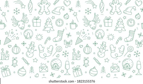Merry Christmas Happy New Year seamless background pattern. Vector illustration doodles, thin line art sketch icons style concept