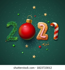 Merry Christmas and Happy New Year 2021 greeting card, vector illustration.