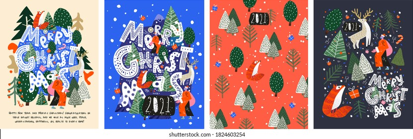Merry Christmas and Happy New Year! 2021! Vector trendy abstract illustrations of holiday card with forest, santa claus, fox, deer, lettering, christmas tree and pine. Drawing for poster or pattern.