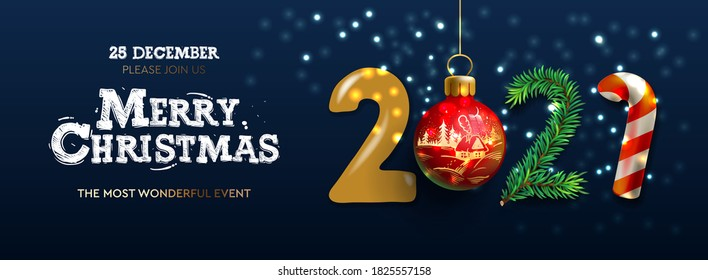 Merry Christmas and Happy New Year 2021 banner, Xmas festive decoration. Horizontal Christmas posters, cards, headers, website. Vector illustration