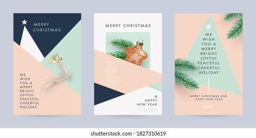 Merry Christmas and Happy New Year Set of backgrounds, greeting cards, posters, holiday covers. Design with realistic New Year's eve Christmas tree branches, star and deer toy. Xmas festive templates