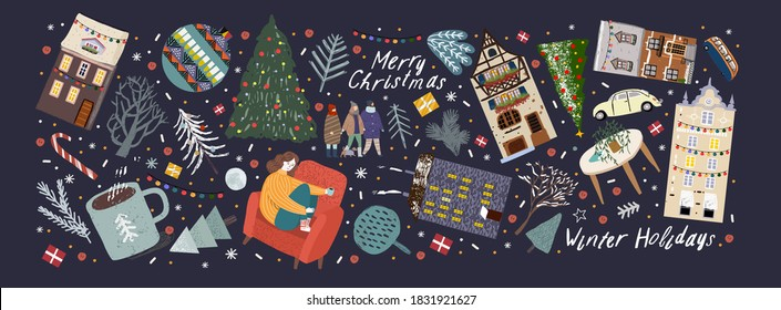 Merry Christmas and Happy New Year! Vector illustrations of cute winter objects: house, car, people, tree, Christmas ball, Christmas tree, snow, interior items, coffee cup, bus.