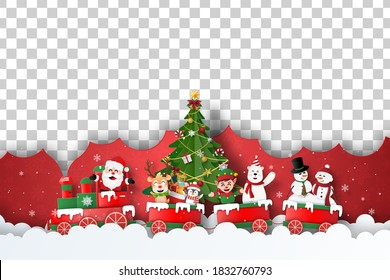Merry Christmas and Happy New Year, Christmas postcard cover of Santa Claus and friends on Christmas train, Blank space for your text or photo