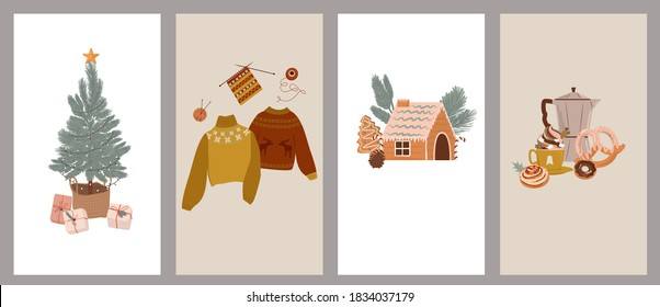 Merry Christmas or Happy New Year vertical background for social media or mobile app template. Holidays winter elements in Scandinavian style.  Editable Vector illustration