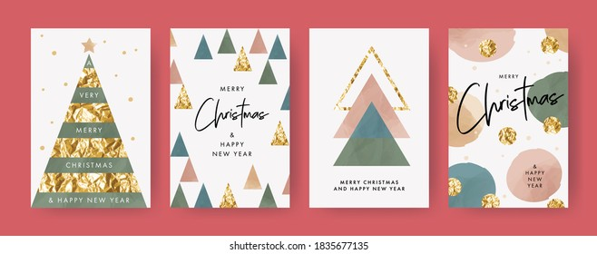 Merry Christmas and Happy New Year Set of greeting cards, posters, holiday covers. Trendy design templates with typography, foil pressed triangle firs, dots and watercolor textured geometric elements